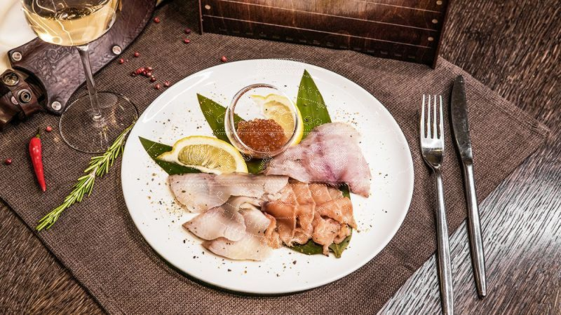 Fish Delicacies (light-salted salmon, cold-smoked omul, light-salted muksun, red caviar)