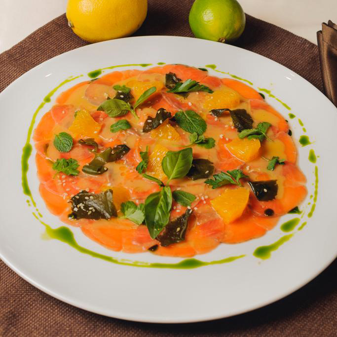 Carpaccio from Red Salmon with Kelps, Mixed Herbs and Citrus Flesh
