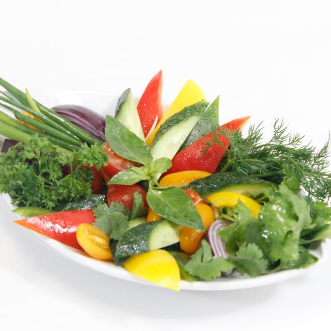 Fresh vegetables (cucumber, tomato, pepper, radish, herbs)