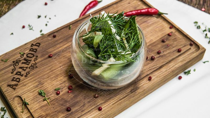 Merchant-style chopped cucumbers with horseradish and mixed herbs