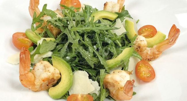 Arugula, avocado and prawn salad with mature balsamic vinegar