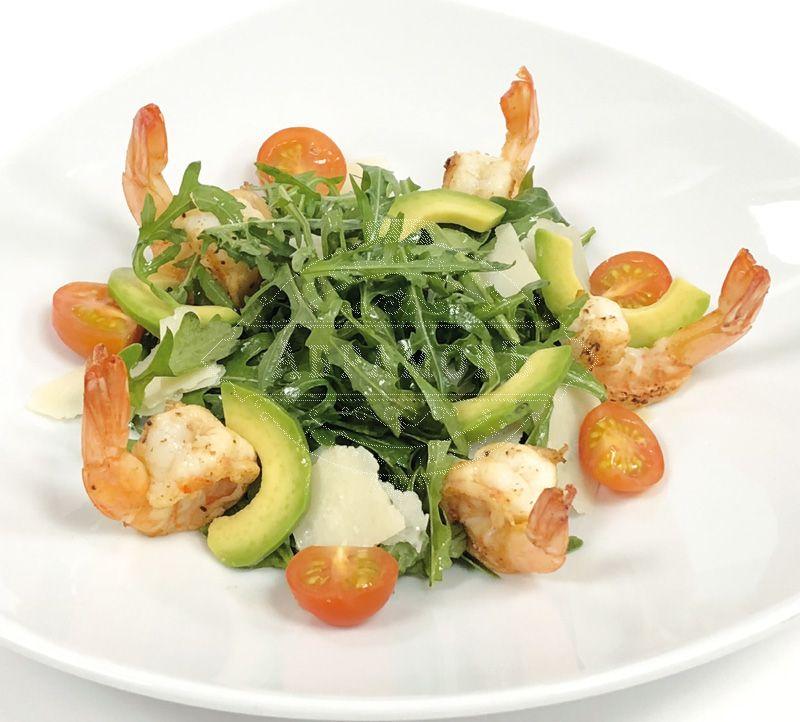Arugula, avocado and prawn salad with mature balsamic vinegar