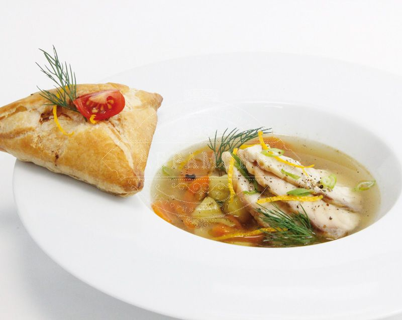 Tsar's ukha with sturgeon and open fish pie