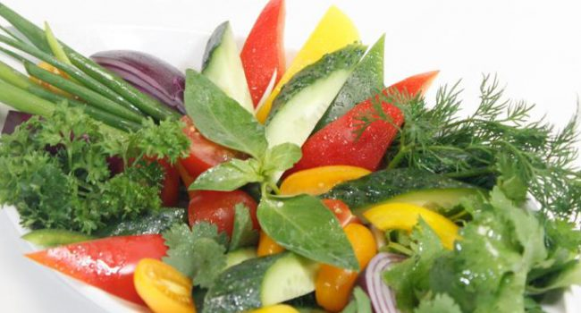 Fresh vegetables (cucumber, tomato, pepper, radish, herbs)