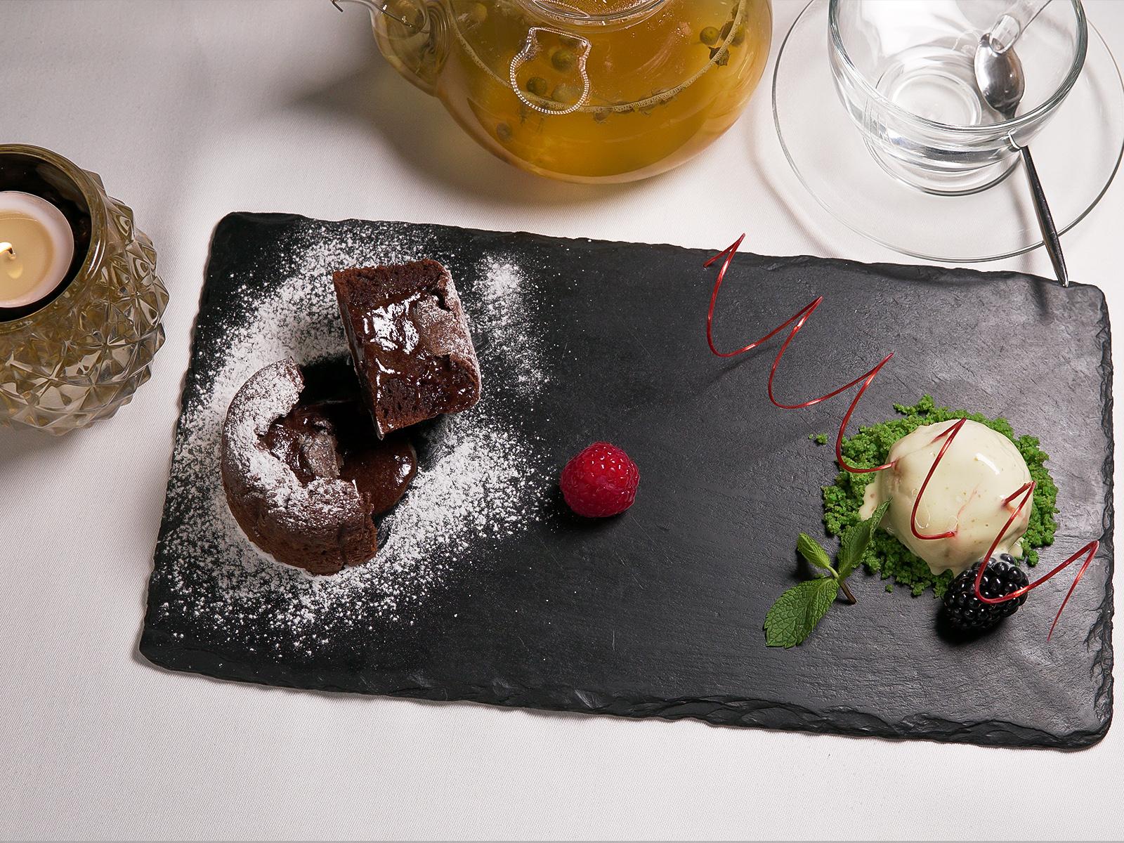 Chocolate fondant cake with pistachios